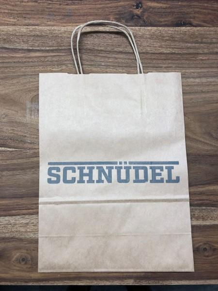 Papiertasche mit Schnüdel-Schriftzug